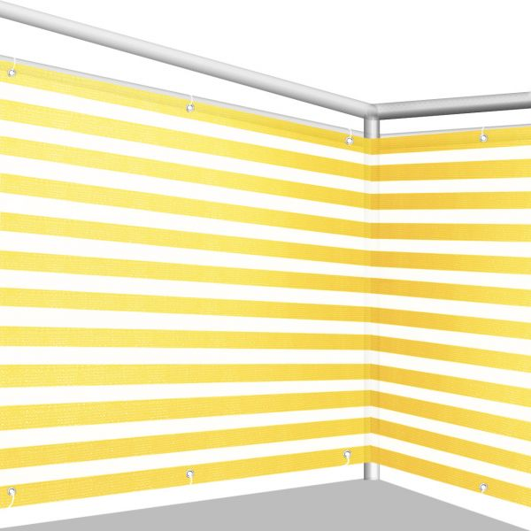 Balkonbespannung PE, Classic gelb/weiß