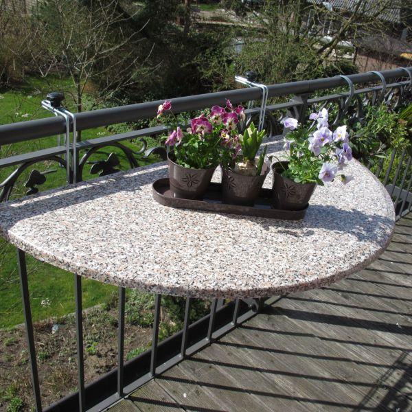 Balkonklapptisch Werzalitplatte terrazzo halbrund 51 x 102 cm