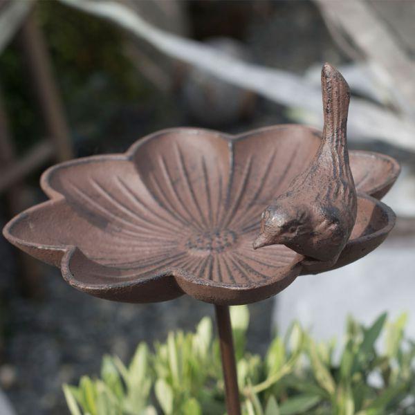 Gartenstecker Vogeltränke Lucy, braun-antik