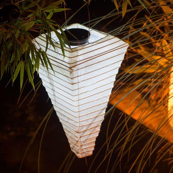 Solar LED-Laterne, wetterfest, Pyramide, sandhell