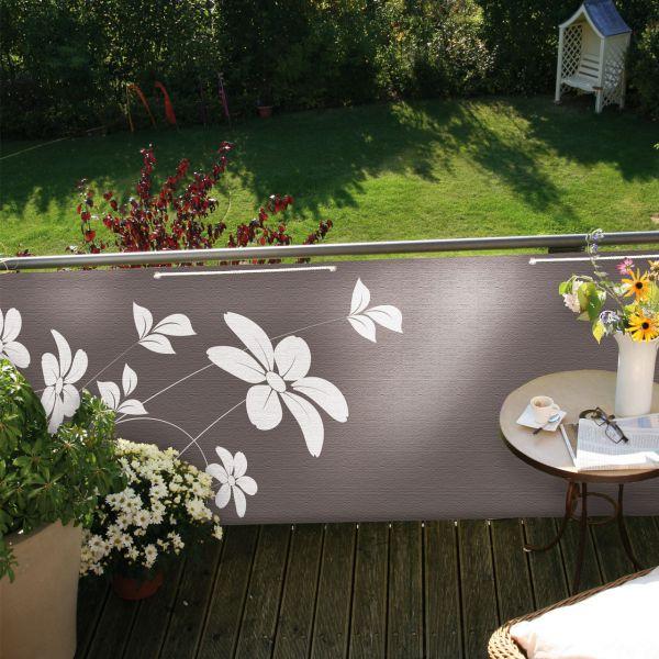 Balkonbespannung Blüten, taupe, 90x300cm
