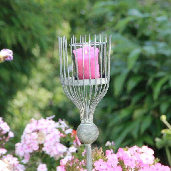 Metall-Gartenstecker Kerzenhalter, antik-grau