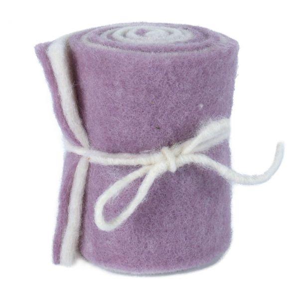 Woll-Filzband extrabreit, zweifarbig flieder/wollweiß