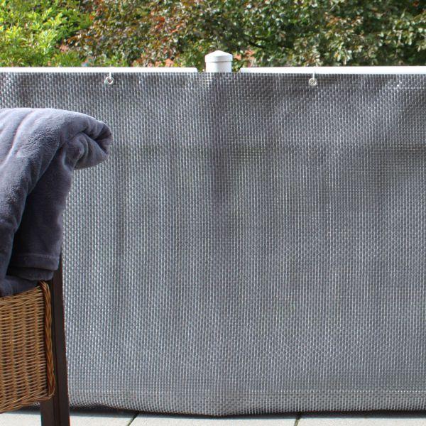 Balkonverkleidung Kunststoffgeflecht, silber-anthrazit