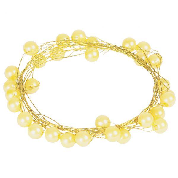 Basteldraht mit Perlen, gelb