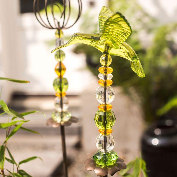 Gartenstecker Acryl Kolibri, grün/orange