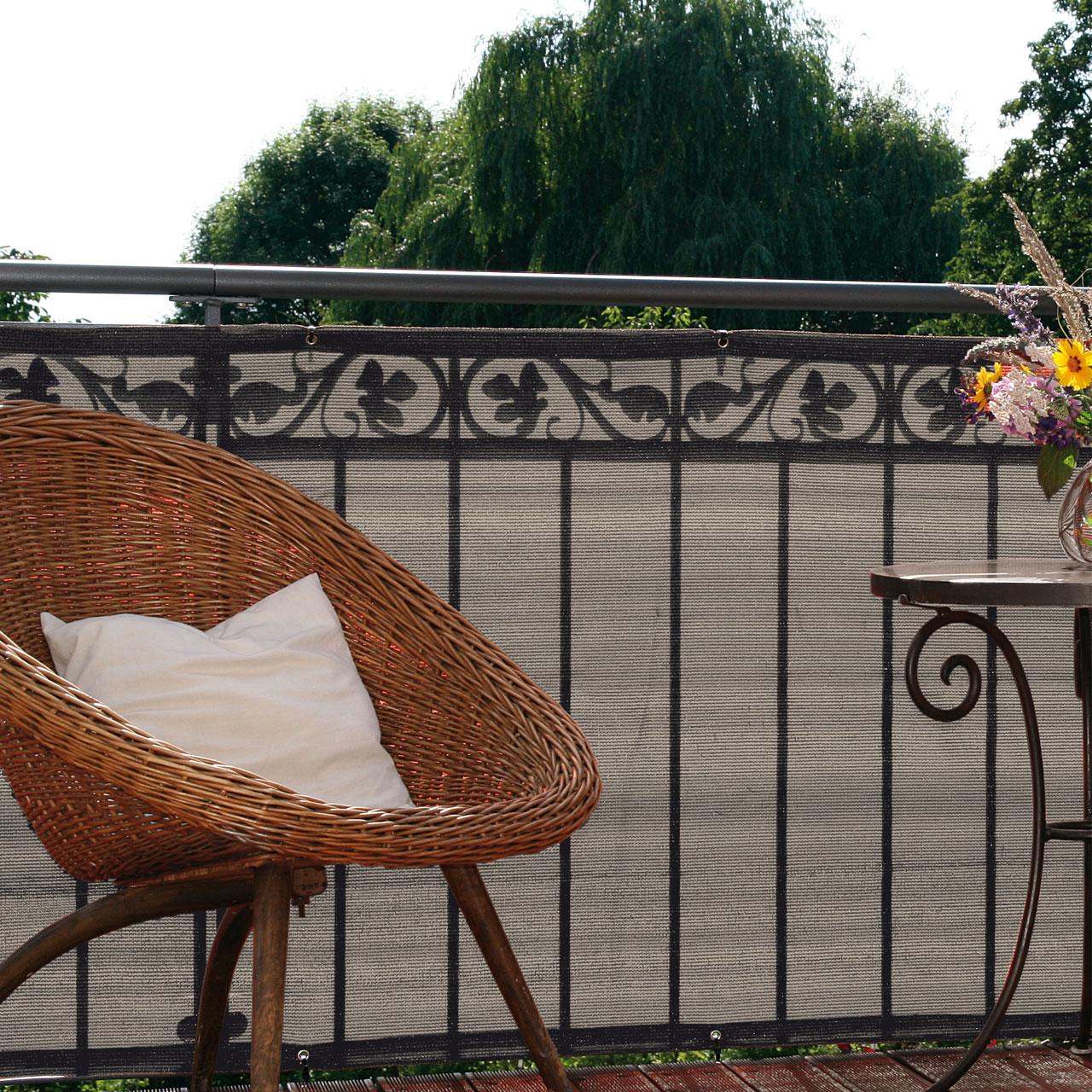 balkonbespannung pe classik bicolor beige grau. Black Bedroom Furniture Sets. Home Design Ideas