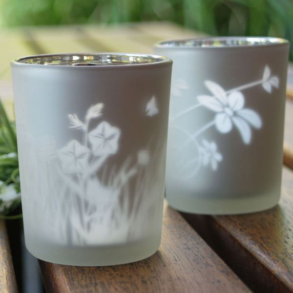 Teelichtgläser, 2er-Set, Gräser matt