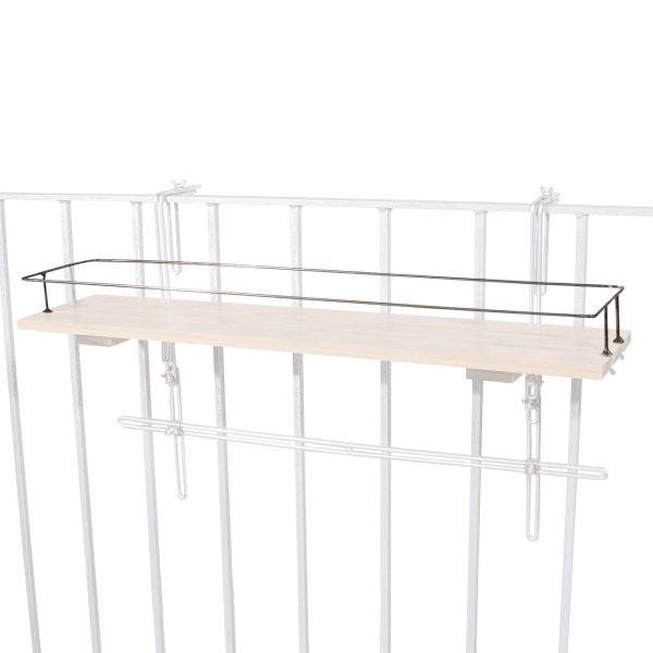 Metall-Rahmen für Balkon-Hängeregal Bambusholz