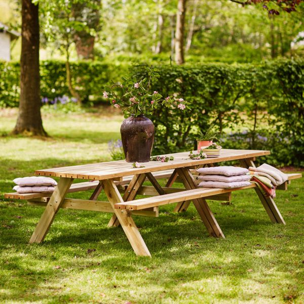 Picknicktisch mit Bänken SCANDIC, 12 Pers./ 300 cm lang