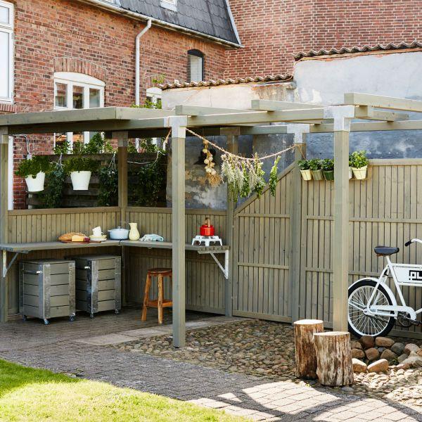 Holz Sichtschutz-Zaun, Atrium taupe