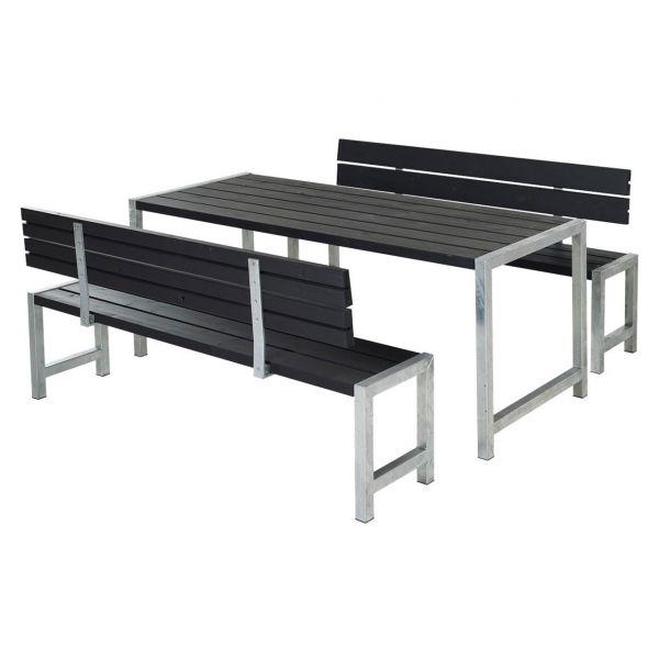 Gartenmöbel SET Planken Tisch + 2 Bänke 2 Lehnen | Balkonerlebnis.de