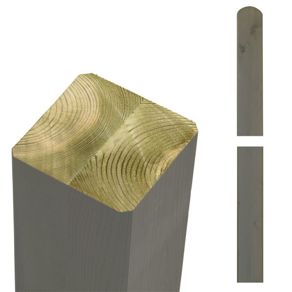 Premium Leimholzpfosten 9x9cm, Rundkopf taupe