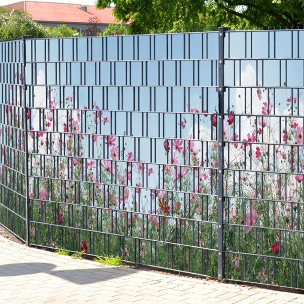 Sichtschutzstreifen bedruckt, Motiv Sommerblumen rose