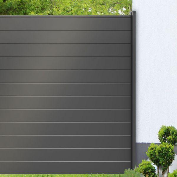 Wandanschluss für Steckzaun Solid, Alu-Universalleiste silbergrau
