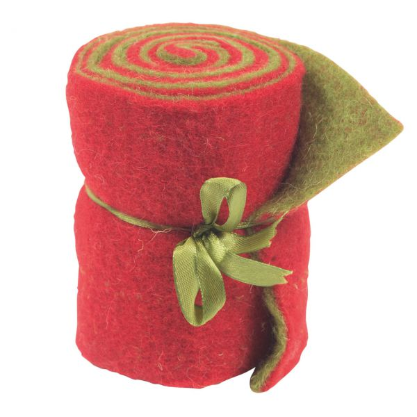 Woll-Filzband, extrabreit, zweifarbig rot/grün