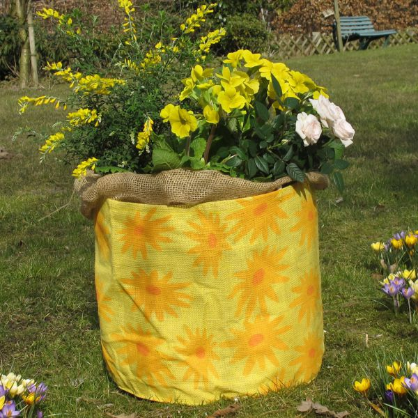 Jute-Übertopf Sunflower, gelb