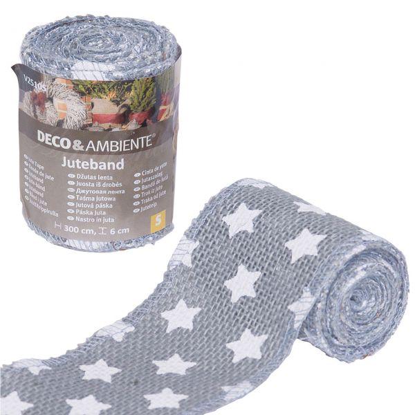 Deko-Juteband Sternchen, grau/weiß