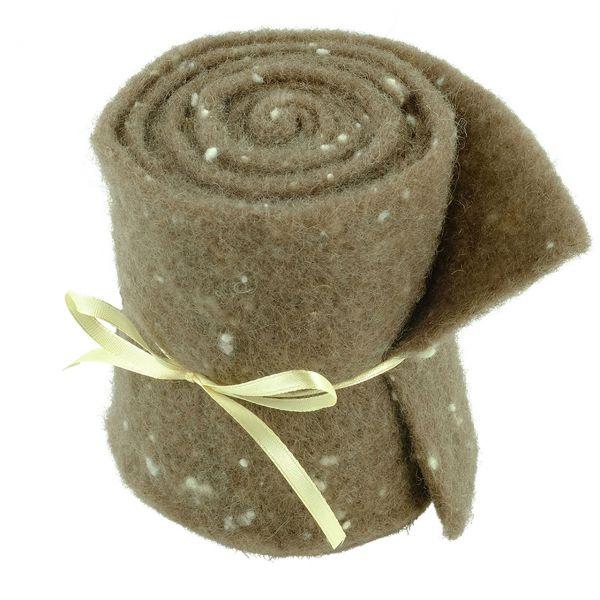 Woll-Filzband extrabreit, gepunktet braun