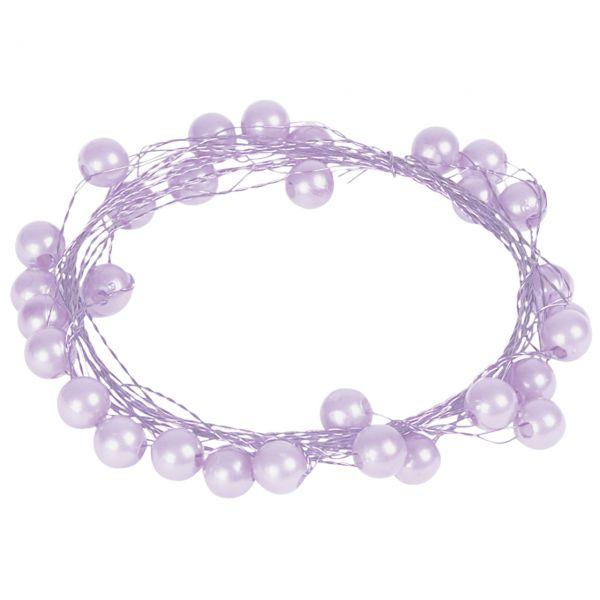 Basteldraht mit Perlen, flieder