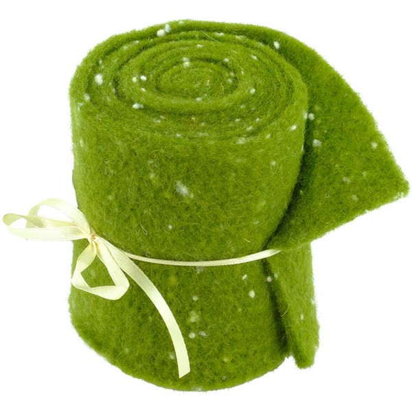Woll-Filzband extrabreit, gepunktet grün