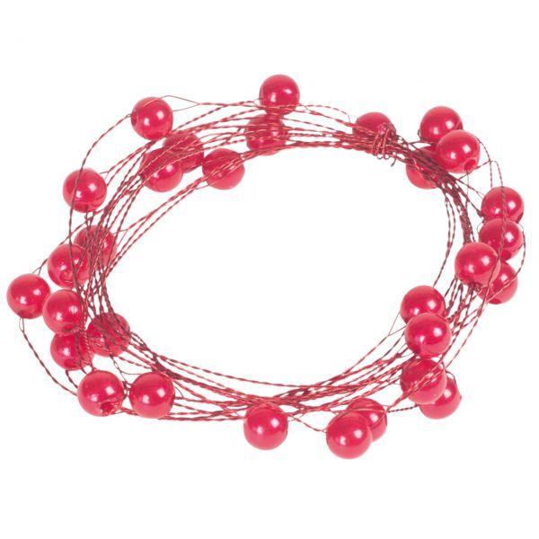 Basteldraht mit Perlen, rot