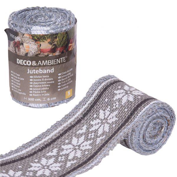 Deko-Juteband Norweger-Muster, grau/weiß