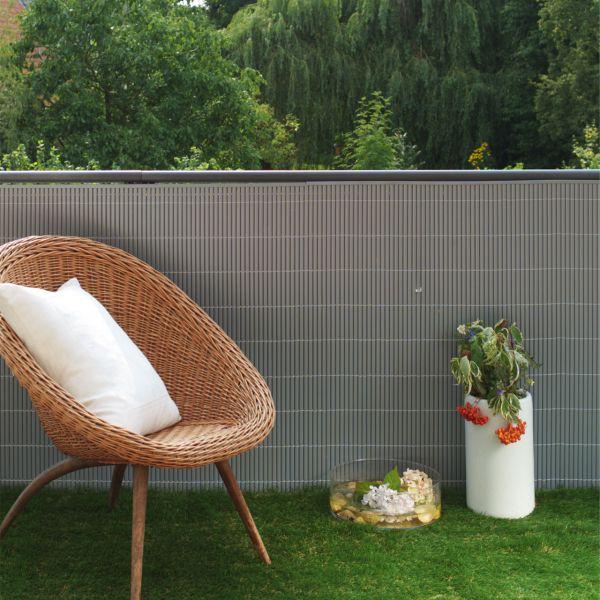 Sichtschutzmatte Kunststoff, Rügen aluminium