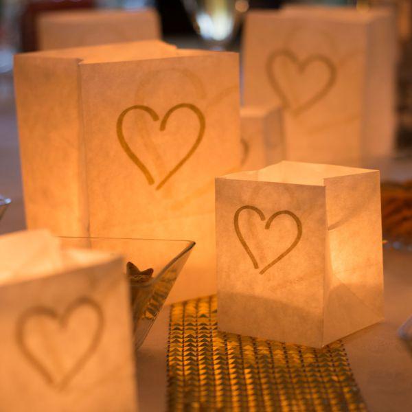 Lichtertüten Herz, gold