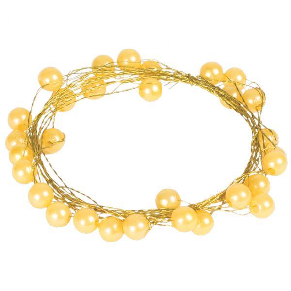 Basteldraht mit Perlen, gold