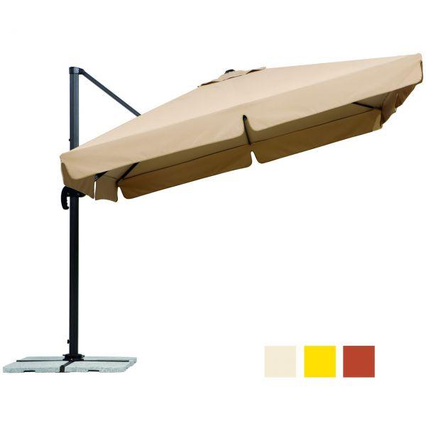 Ampel-Sonnenschirm RHODOS quadrat. 300cm, inkl. Ständer u. Schutzhülle