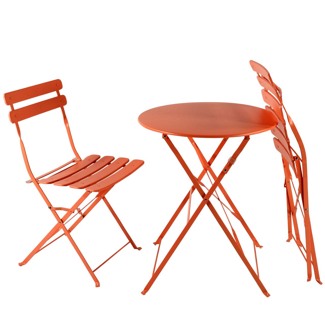 balkon gartenm bel bistro set klappbar metall orange. Black Bedroom Furniture Sets. Home Design Ideas