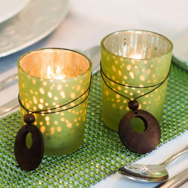 Teelichtgläser Ornamente, silber-grün-dunkelgrün