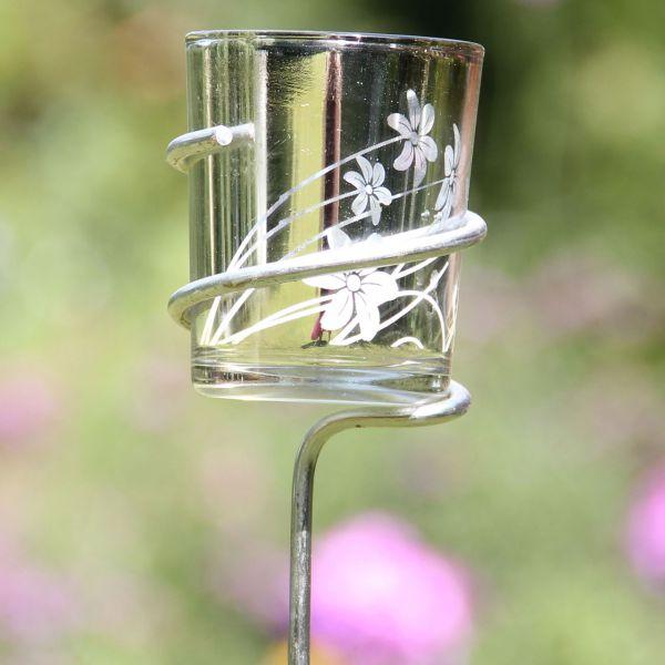 Gartenstab mit Teelichtglashalterung