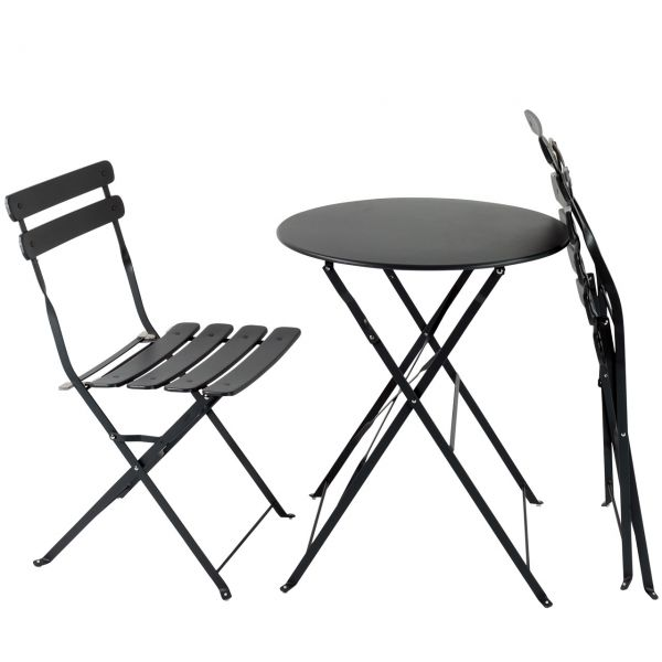balkon gartenm bel bistro set klappbar metall anthrazit. Black Bedroom Furniture Sets. Home Design Ideas