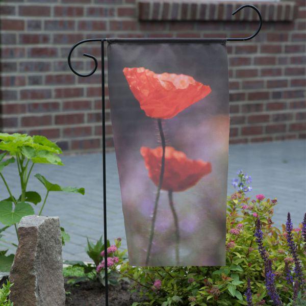 Gartenfahne - Blumenstecker Mohn