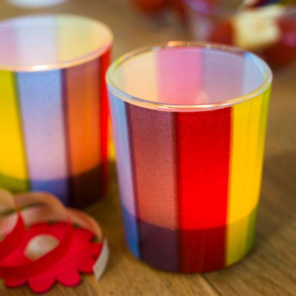 Teelichtgläser Regenbogen, regenbogen