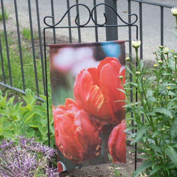 Gartenfahne - Blumenstecker Tulpe rot