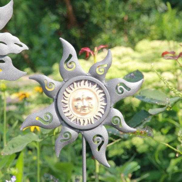 Metall-Gartenstecker Sonne, schwarz