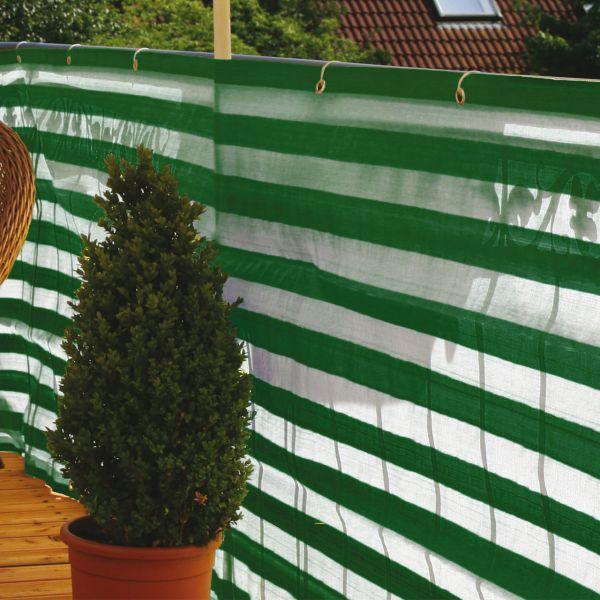Balkonbespannung PP, grün/weiß