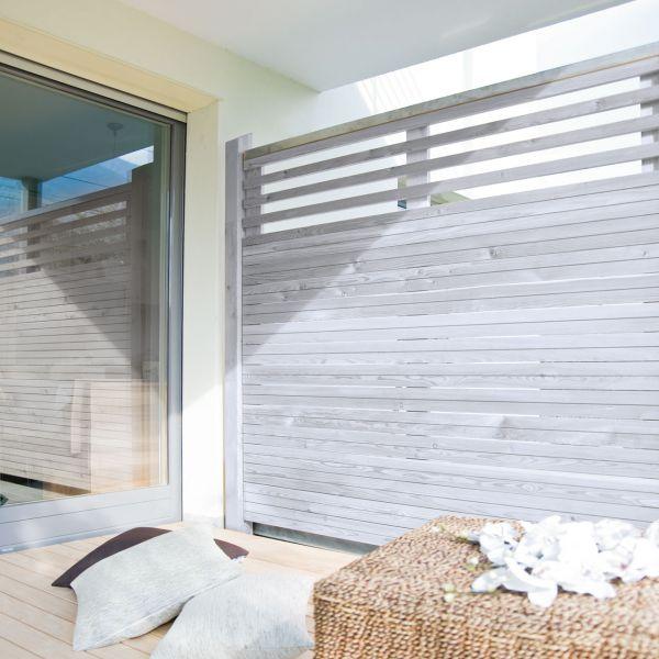 Sichtschutzzwand Hochgebirgs-Lärche, Cubus mit Lichtausschnitt, alpin-grau