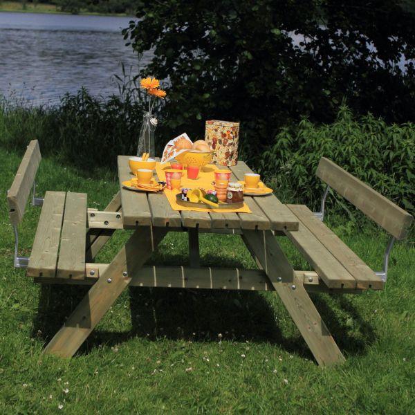 Picknicktisch mit Bänken SCANDIC & Lehnen