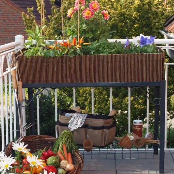 Balkon-Hochbeet, natur