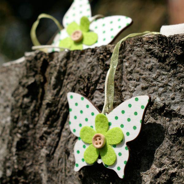 Holz-Girlande Schmetterlinge, grün/weiß