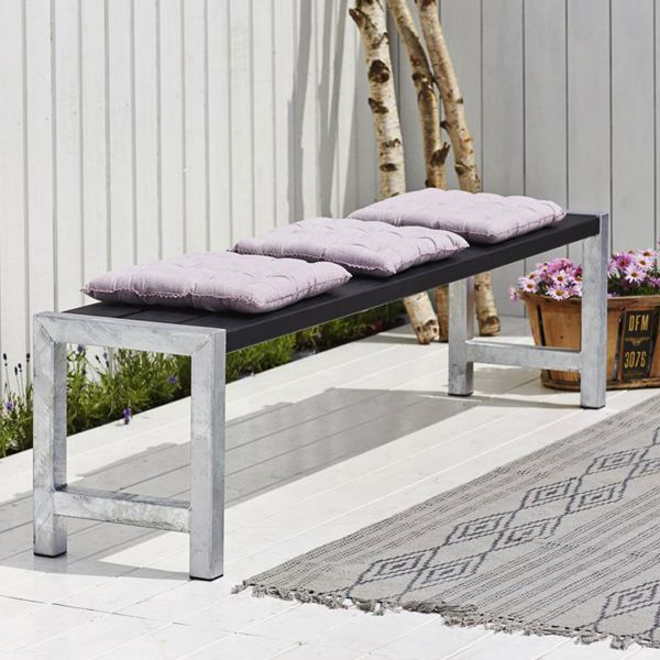 Sitzbank Planken, Stahlrahmen/Holz