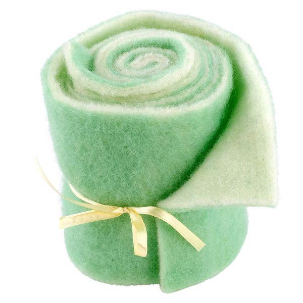 Woll-Filzband extrabreit, zweifarbig mint/wollweiß