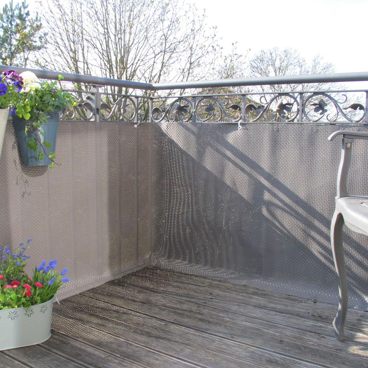 balkonverkleidung kunststoffgeflecht titangrau. Black Bedroom Furniture Sets. Home Design Ideas