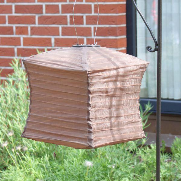Solar LED-Laterne, wetterfest, Würfel, dunkelbraun