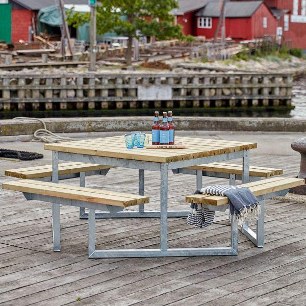 Picknicktisch mit Bänken TWIST Holz & Metall