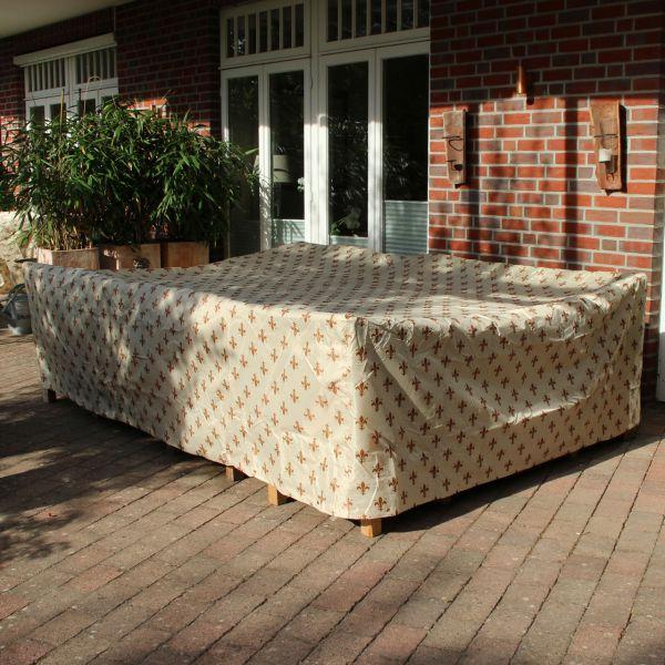 Gartenmöbel-Schutzhülle rechteckige Tischgruppe, Lilien-Design beige